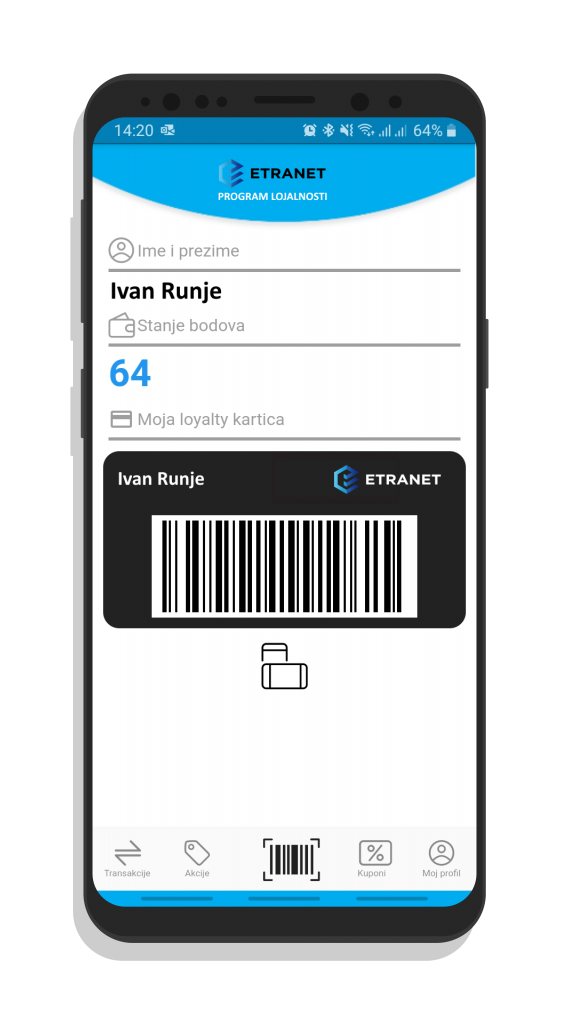 Hibridno mobilno loyalty rješenje ETRANET Grupe